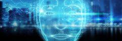 Robotic man cyborg face representing artificial intelligence 3D