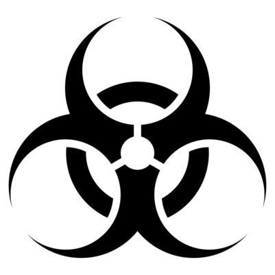 Black and white biohazard vector sign.